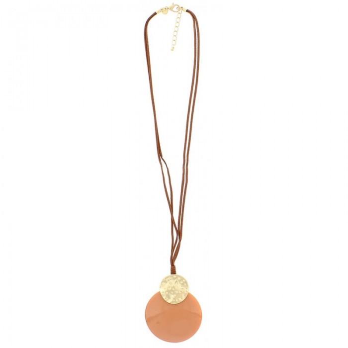 Collar largo en cuero marrón y medallón en rosa