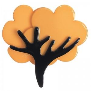 Broche de resina en forma de árbol tono camel