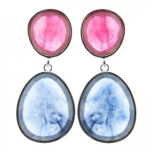 Pendientes con piedras grandes en rosa y azul