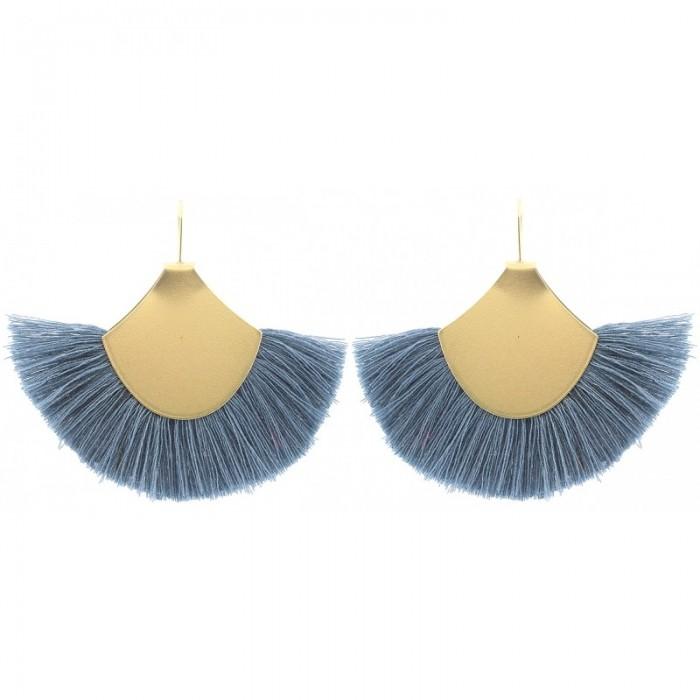Pendientes chapado dorado con flecos en azul