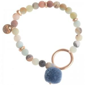Pulsera elástica con piedras y pompón de colores