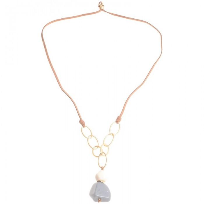 655f3ff14e67 Collar largo combinado con cuero marrón ya aros en dorado - Cucada ...