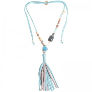 Collar largo con cuentas de colores y fleco de trapillo