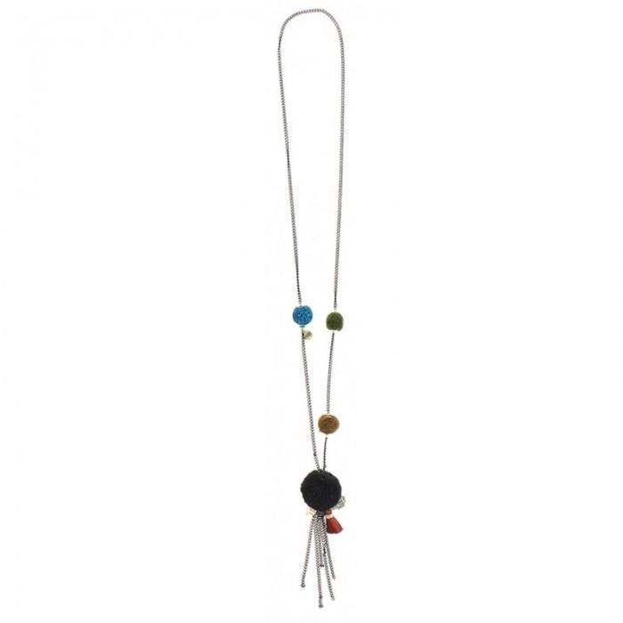 Collar largo con pompones y cuentas de colores