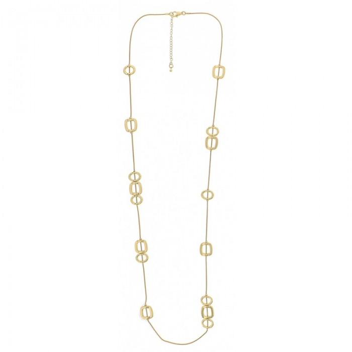Collar largo con cadena de cola de topo y detalles geométricos