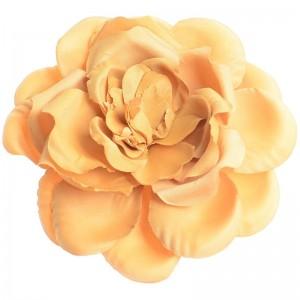 Broche de tela en forma de gran flor en amarillo de 17 cm