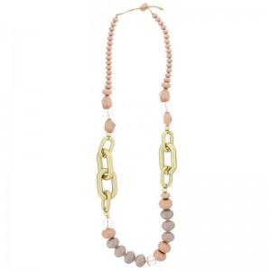 Collar largo con cuentas en tonos rosas y eslabones en dorado