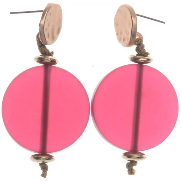 Pendientes de metal en chapado rosa con bola en fucsia
