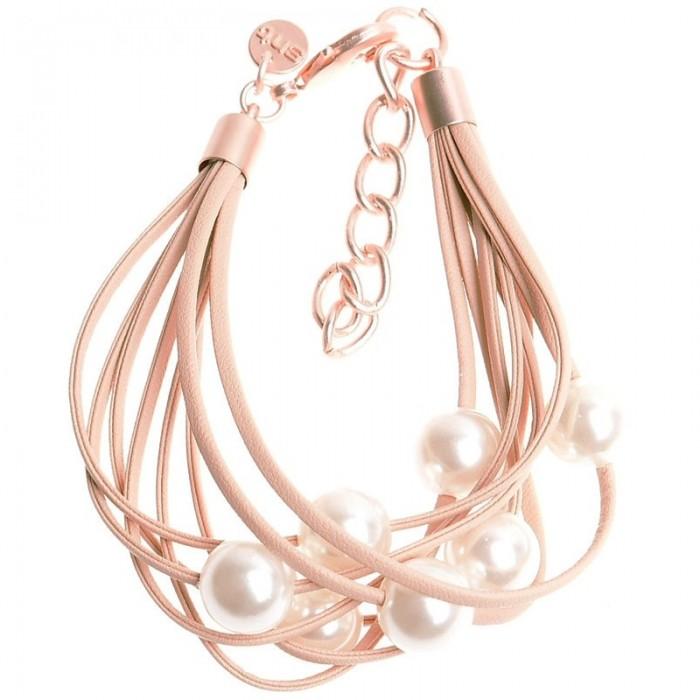 Pulsera de varias tiras de cuero con perlas