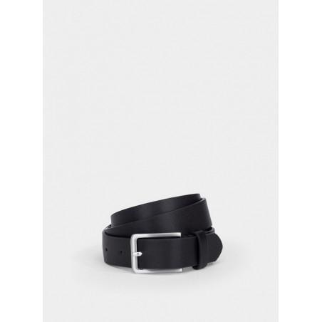 Cinturón para chico en negro con hebilla plateada