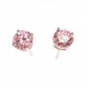 Pendientes de plata circonita rosa de Salvatore