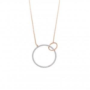 Collar de plata combinada con aros entrelazados con circonitas blancas