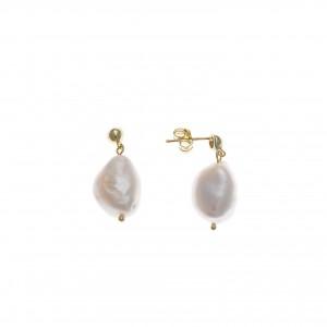 Pendientes de plata chapado dorado con perla de agua dulce