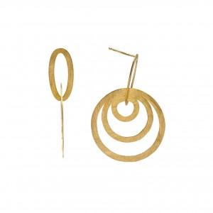 Pendientes de plata chapado dorado con aros entrelazados en mate
