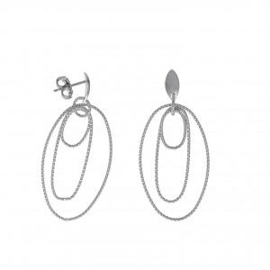 Pendientes de plata rodiada con aros rayados