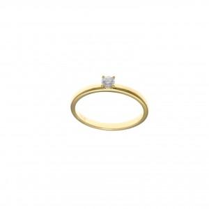Sortija de palta chapado dorado con circonita blanca