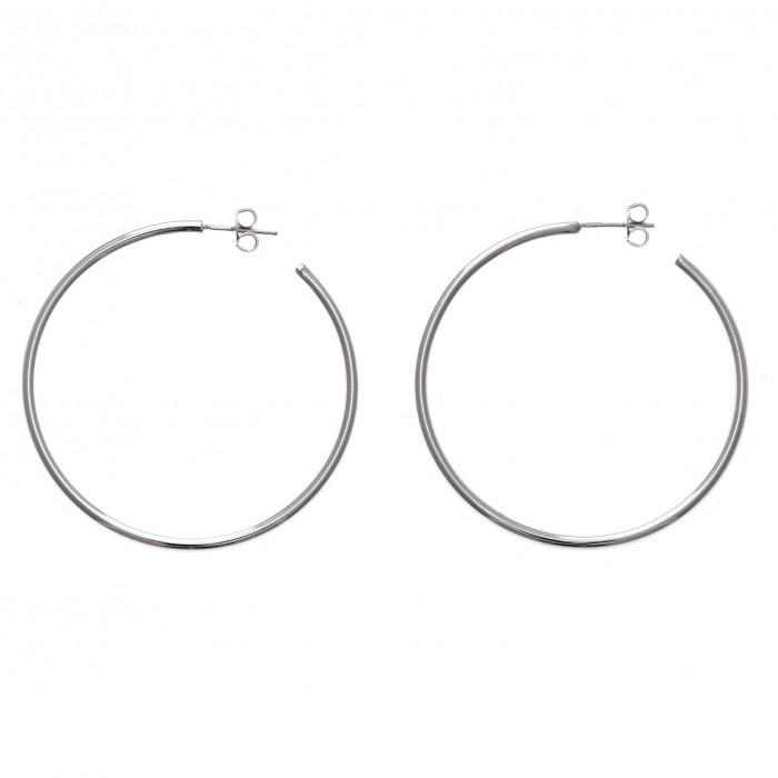 c4d6eed7a150 Pendientes de plata rodiada en forma de aro de 4 cm - Cucada moda y ...