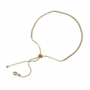 Pulsera de plata chapada dorada con circonitas blancas