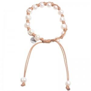 Pulsera de cuero con perlas