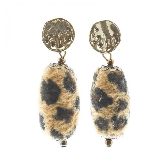 Pendientes de metal en dorado con lágrima en leopardo