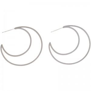 Pendientes de aros doble con forma de media luna
