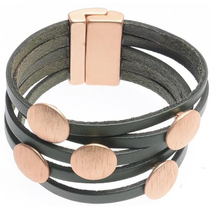 Brazalete de varias vueltas de cuero con círculos en metal