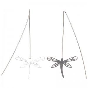 Pendientes acero con libélula calada