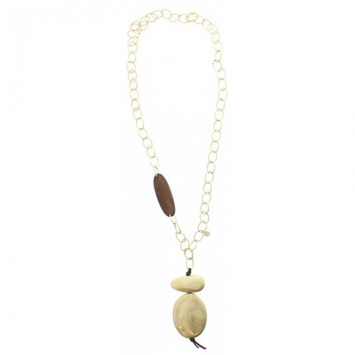 Collar largo de anillas en dorado con gran colgante en imitación a madera