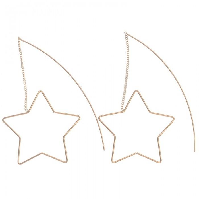 Pendientes largos de metal con silueta de estrella