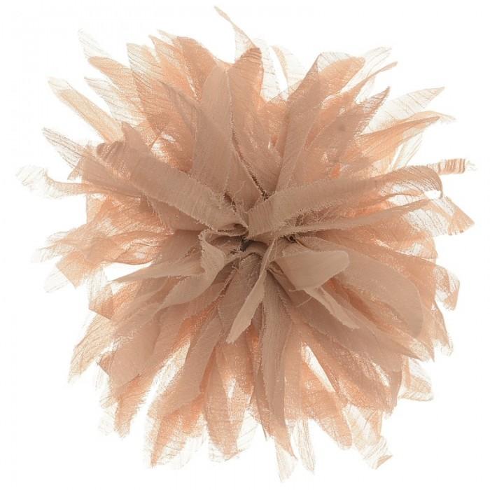 Broche con forma de flor color camel de 14 cm