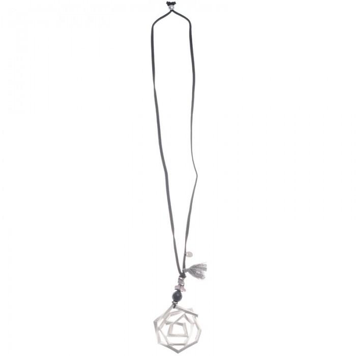 Collar largo de antelina con y flor de metal
