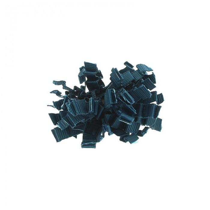 Anillo de metal con cinta d erado rizado en azul