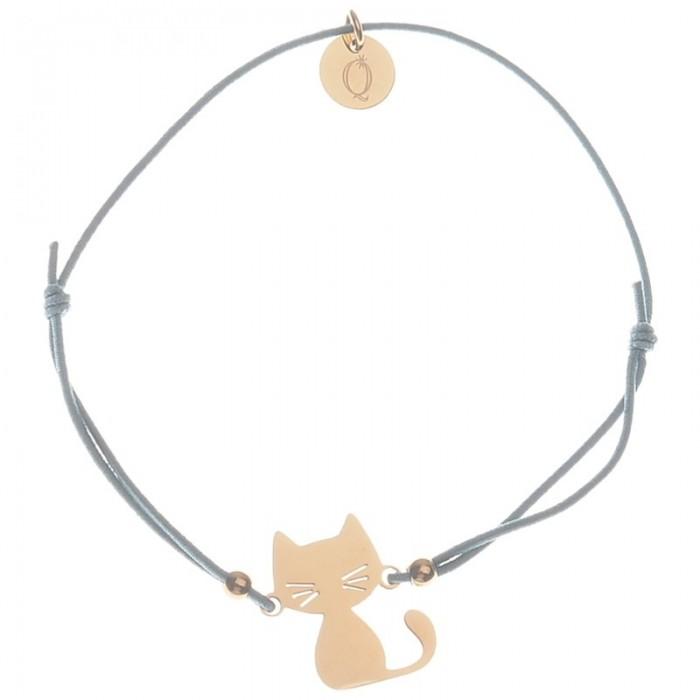 Pulsera elástica con detalle de gato en acero