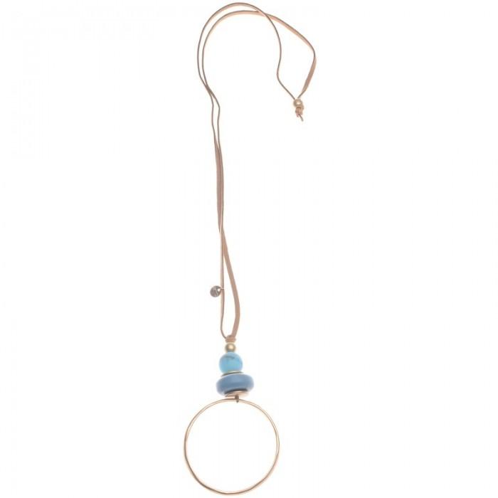 Collar largo de antelina con aro de metal chapado
