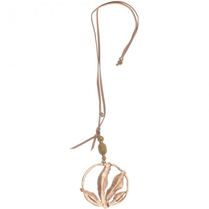 Collar largo con aro y hojas en metal chapado dorado