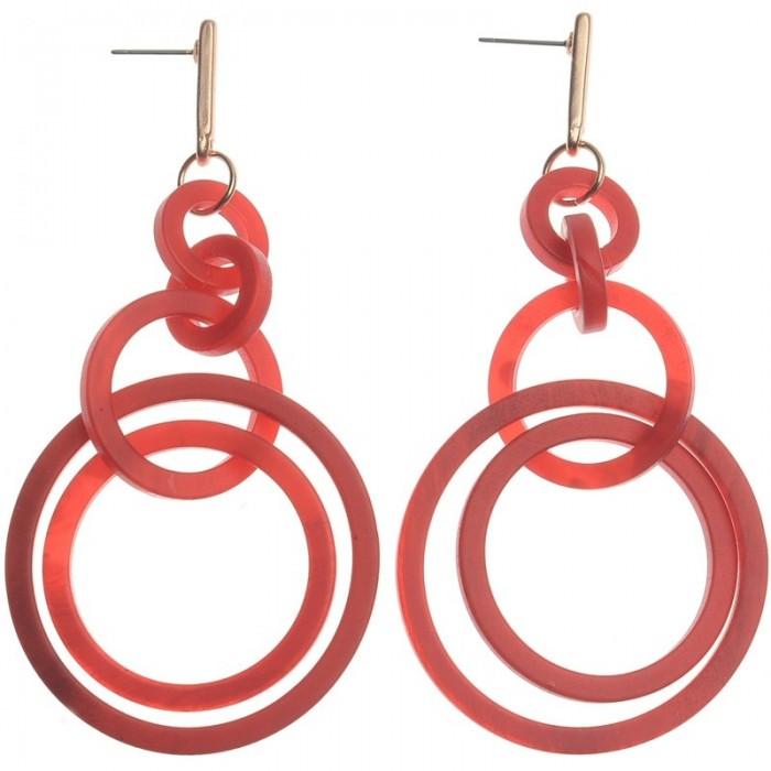 Pendientes de resina con múltiples anillas entrelazados