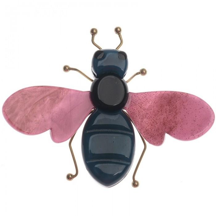 Broche en forma de insecto combinado en metal y resina