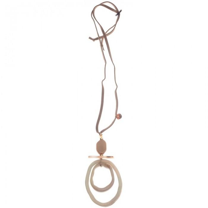 Collar largo con doble anilla en color beige