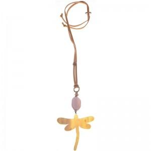 Collar largo con colgante de libélula en resina