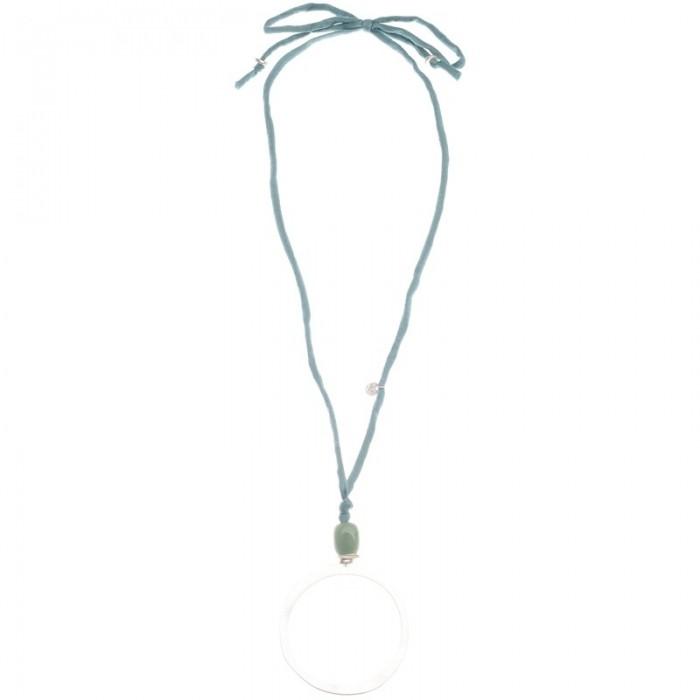 Collar largo con anilla en plateado con piedra irregular
