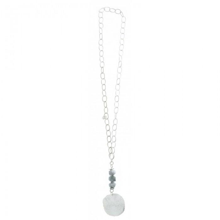 Collar largo de cadena con medallón en plateado
