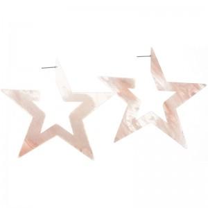 Pendientes XXL en forma de estrella en resina beige