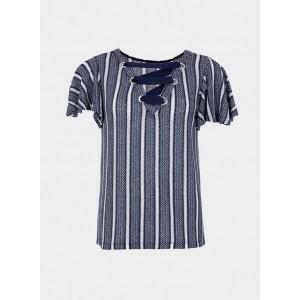 Jersey de punto en rayas de tonos azules de Tiffosi