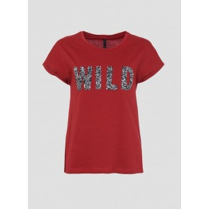 Camiseta en color granate de Tiffosi con strass
