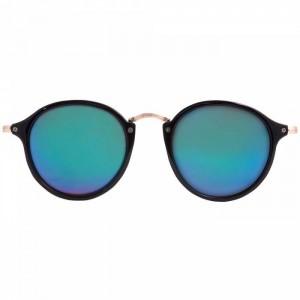 Gafas de sol negras flas azul redonda patilla metal dorado