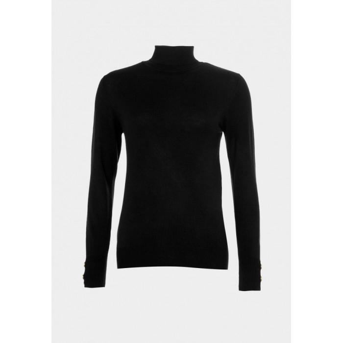 Suéter de punto con cuello vuelto y botones en el puño