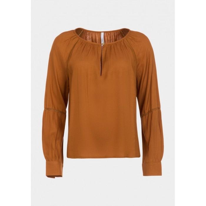 Blusa con cuello redondo y botón en el escote de Tiffosi