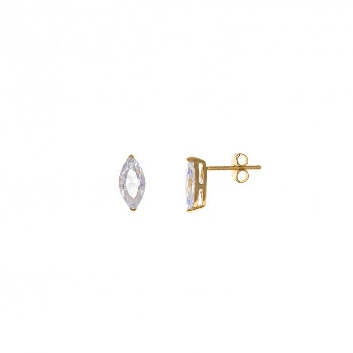 pendientes de plata chapado dorado con circonita blanca