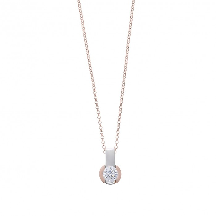 Gargantilla de plata de Salvatore en rodio y chapado rosa con circonita blanca