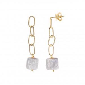 Pendientes eslabones con perla cuadrada